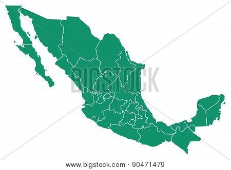 Map of Mexico with States