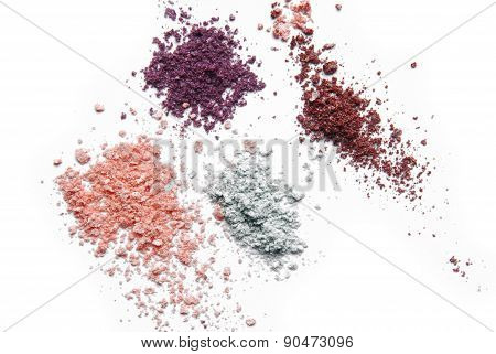 makeup eye shadow powder color isolated on white