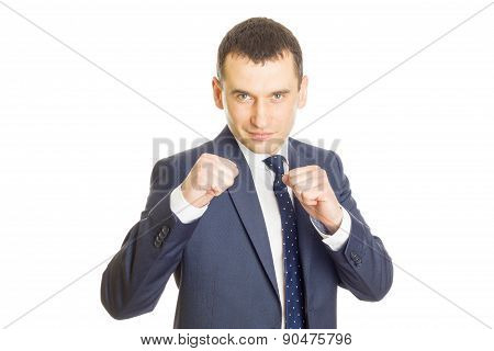 Businessman Clenching Fists