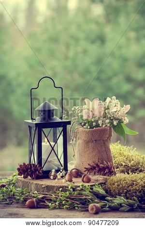 Wedding Still Life In Rustic Style. Forest On Background.