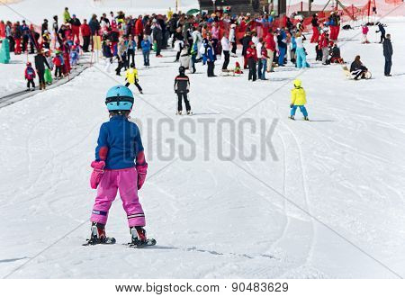 Kids Skiing In An Austria Ski School