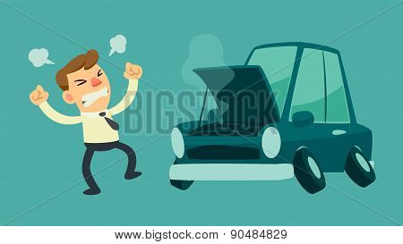 Businessman And Broken Car