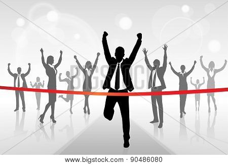 Running Businessman Crossing Finish Line Win Success