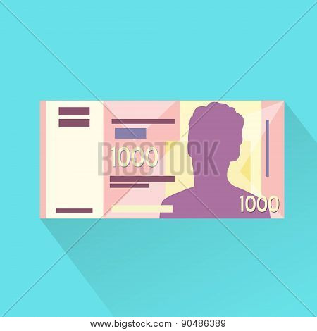 Singapore One Thousand Dollar Banknote Flat Design