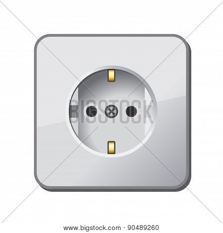White Electric Outlet. Vector.