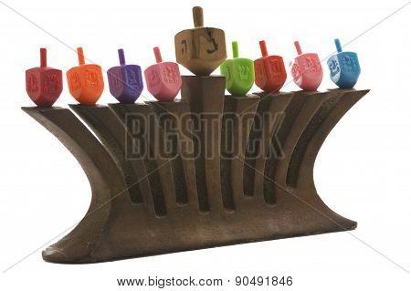 Menorah with Dreidles isolated