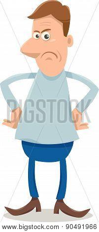 Displeased Man Cartoon Illustration