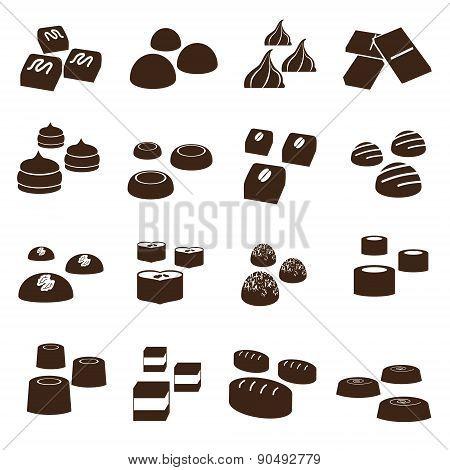 Sweet Chocolate Truffles Styles Icons Set