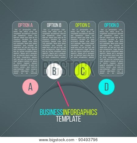 Vector business process steps infographic elements. Options choice, instruction or presentation temp