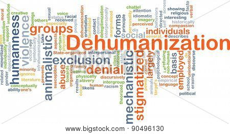 Background concept wordcloud illustration of dehumanization