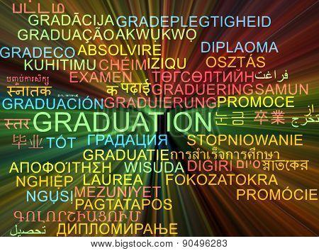 Background concept wordcloud multilanguage international many language illustration of graduation glowing light