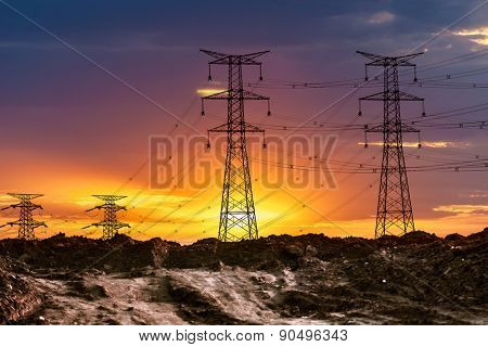 high voltage post.High-voltage tower sky background. poster