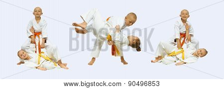 Judo throws are perfoming sportsmens in judogi collage poster