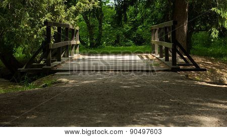 Wooden bridge over the stream in the park