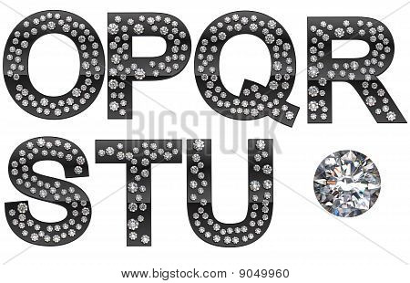 Diamond O-u Letters With Large Gem