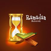 """Open golden pages, Islamic religious book """"Quran Shareef"""" with golden glass sand timer or clock for Holy month of prayers, Ramadan Kareem celebrations.  poster"""