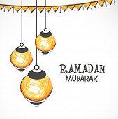 Illuminated hanging lanterns on grey background for Islamic holy month of prayers, Ramadan Mubarak celebrations.  poster