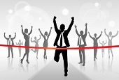 Running Businessman Crossing Finish Line Win Success Business People, Vector Illustration poster
