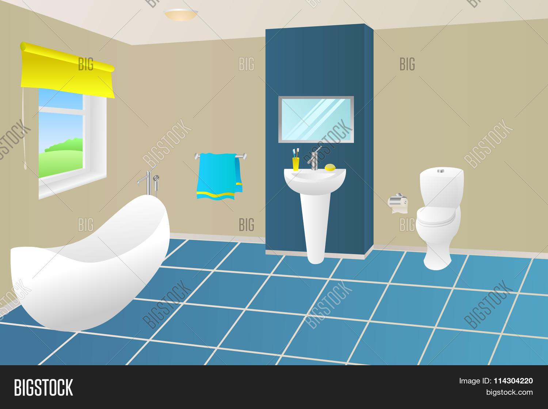 . Modern Bathroom Beige Vector   Photo  Free Trial    Bigstock