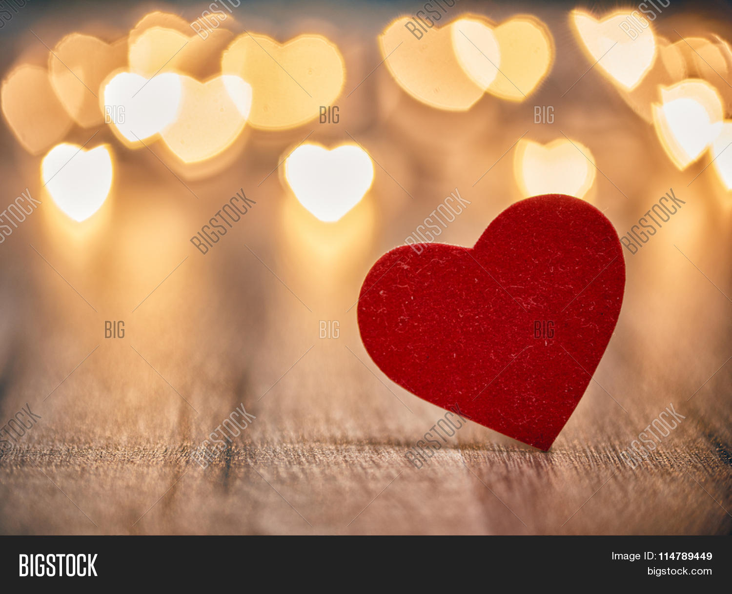 Garland Lights On Wooden Rustic Background Valentines Day With Hearts The Concept Of
