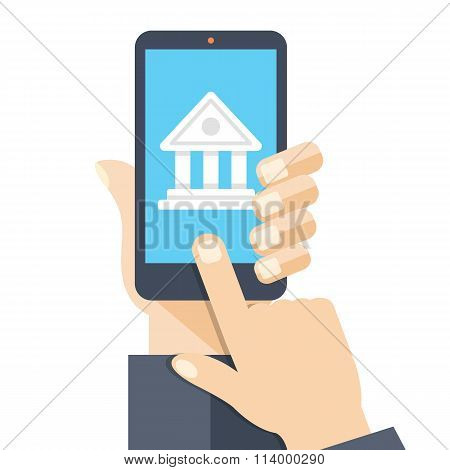 Bank app page on smartphone screen. Online bank account