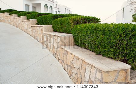 Landscape Design. Nicely Trimmed Bushes At The Front Yard. Empty Street And Great Quiet Neighborhood