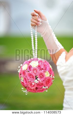 Bridal Bouquet Round Shape Of Pink Roses