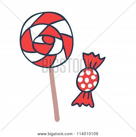 Cake candy pops vector icons illustration