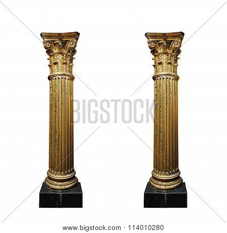 Two Gold Columns Isolated On White Background