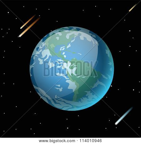 Earth planet 3d vector illustration