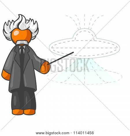 Orange Man Building Ufo