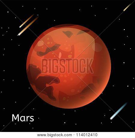 Mars planet 3d vector illustration