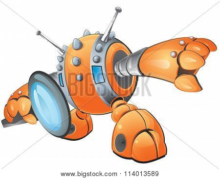Orange Vector Robot Magnifying Glass