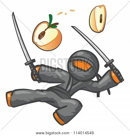 Orange Person Ninja Fighting A Peach