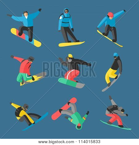 Snowboarder jump in different pose on background