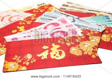 Hung Bao or red packet with Good Fortune Chinese character scatted with various currency notes poster