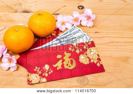 Red Packet With Good Fortune Character Contains Us Dollar Notes