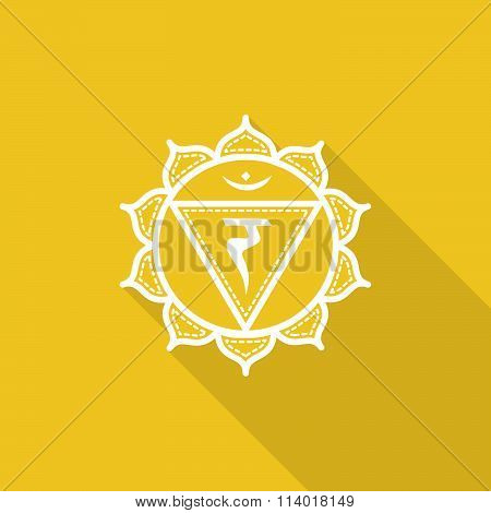Manipura.  Beautiful Indian Ornamental 7 Chakras Collection. Vector Illustration. Color Yoga Chakra