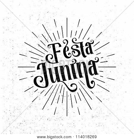 Festa Junina. Traditional Brazil June festival party - Midsummer holiday. Latin American holiday the inscription in Portuguese Festa Junina. Vector Logo Illustration poster