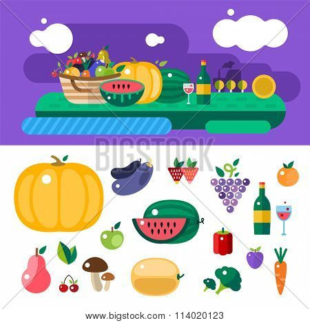 Harvest food icons objects. Harvest fruits and vegetables. Harvest basket and harvest isolated objects. Harvesting. Harvest background. Harvest  autumn season. Harvest objects isolated