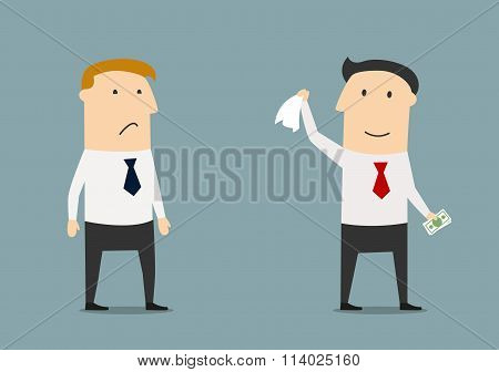 Businessman leaving his competitor without money