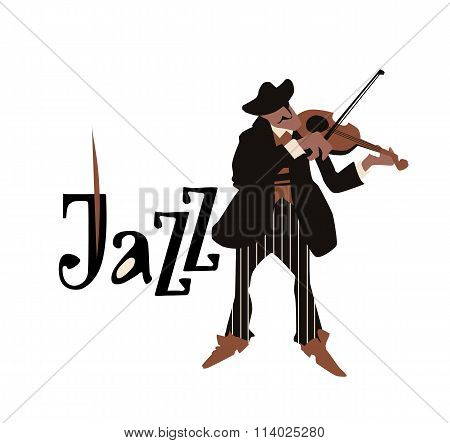 Man playng violin. Jazz inscription. Vector illustration.