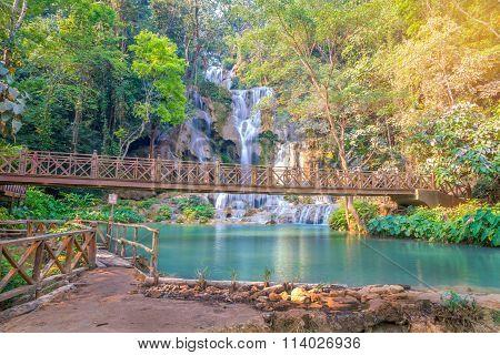 Waterfall In Rain Forest  Tat Kuang Si Waterfalls At Luang Prabang.