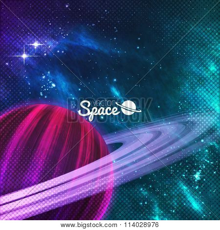 Planet with rings on colorful galaxy background with sturdust and nebula. Vector illustration.