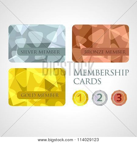 Gold, Silver And Bronze Cards And Medals Set In Polygonal Style