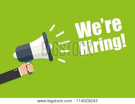 Hand Holding Megaphone - We Are Hiring