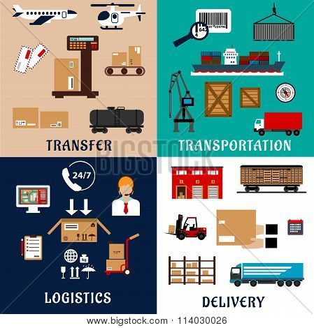 Freight transportation and logistics flat icons