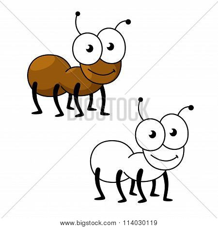 Cartoon brown worker ant insect