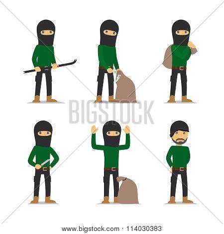 Criminal man. Burglar and thief vector character.