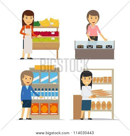 Saleswoman at the counter vector